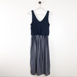 LOFT Sleeveless Midi Dress Blue Striped Women Blue